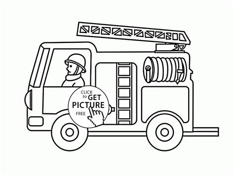 Small Fire Truck Coloring Page For Toddlers