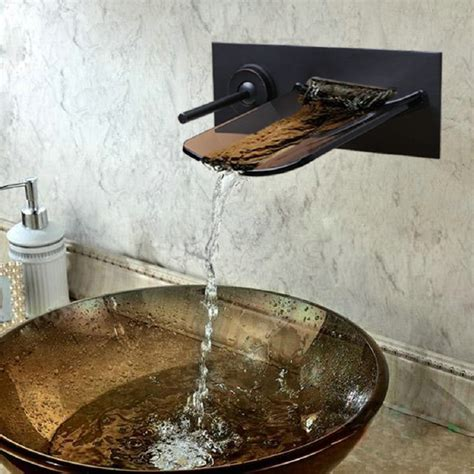 rubbed kitchen faucet waterfall faucets pagosa widespread waterfall faucet