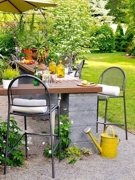 diy cinder block outdoor patio bar gardens