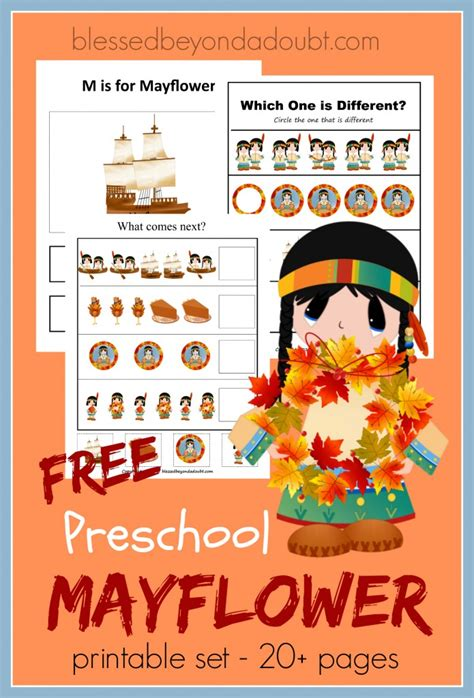 free preschool mayflower printable pack free homeschool 686 | cap117