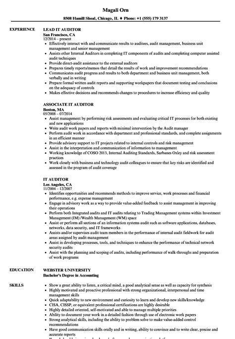 Auditor Resume by It Auditor Resume Sles Velvet