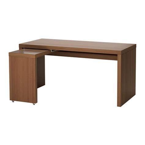 bureau malm malm bureau avec tablette coulissante teinté brun plaqué