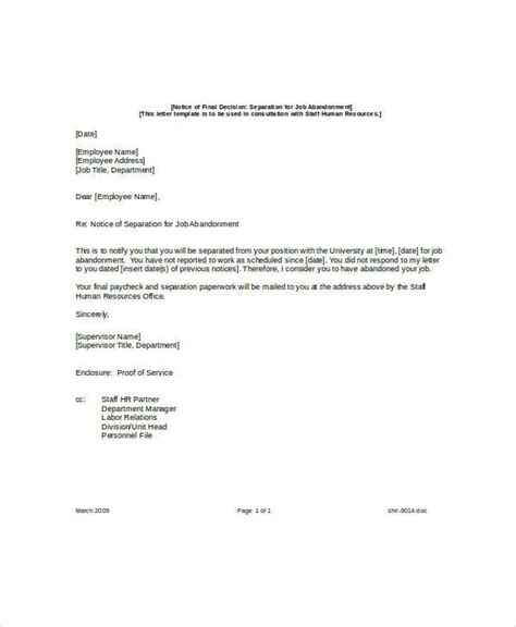 letter of separation of employment template 8 sle abandonment letter exles in word pdf
