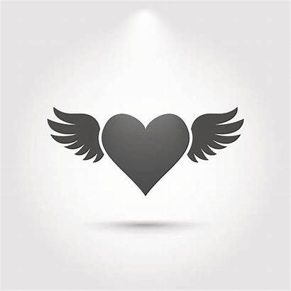 Wings Heart Silhouette Clipart Vector Icon Illustration