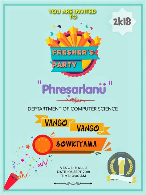 fresher party invitation card images   print