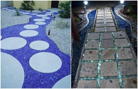 cool garden walkway  stepping stone combos