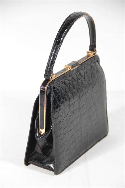 deauville vintage black crocodile skin  handbag frame