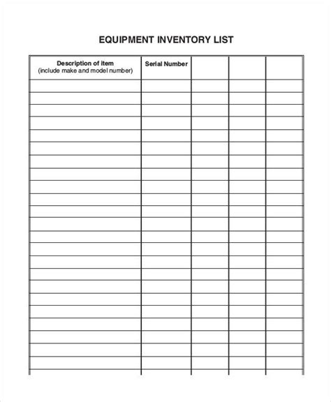 equipment inventory list templates   word