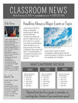 newsletter templates editable school newsletter