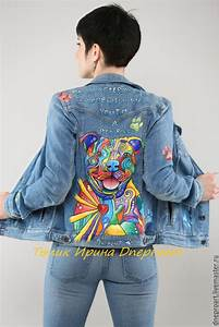 Copy of Denim jacket in the style of pop art u0026quot;pit bullu0026quot;hand-painted u2013 shop online on Livemaster ...