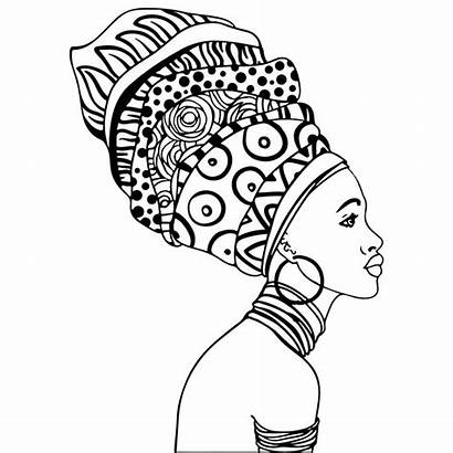 Coloring African Pages American Woman Adult Colouring