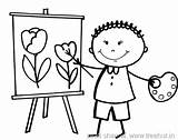 Coloring Stick Figure Easel Drawing Figures Happy Artist Child Template Getdrawings Cartoon Treehut Naruto sketch template