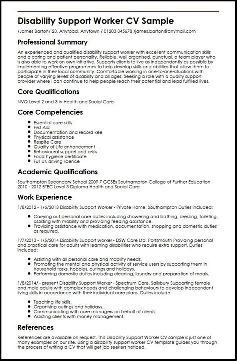 support worker resume objective disability support worker cv sle myperfectcv