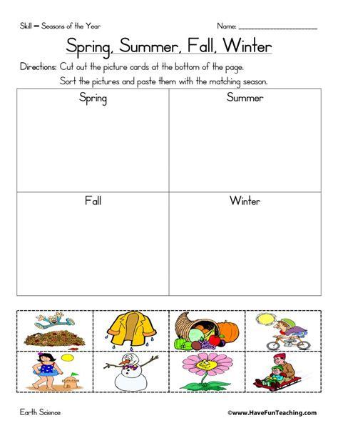 seasons worksheets for teaching