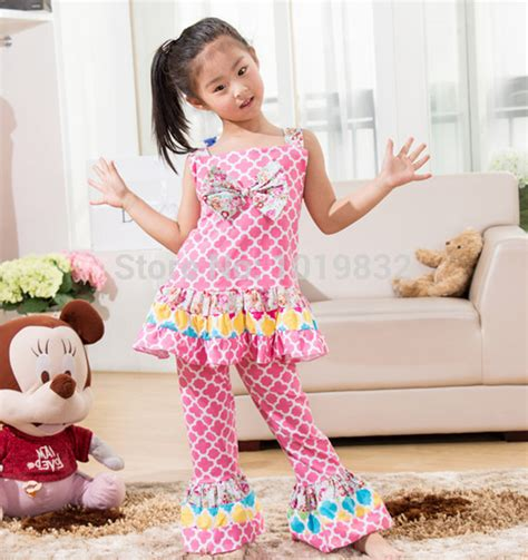 Children Girl Summer Style Clothing Set Sweety Girl Pink Flower Posh Outfit Birthday Wear Kids ...