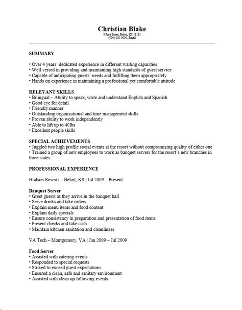 Banquet Server Experience Resume by Free Banquet Server Resume Template Sle Ms Word