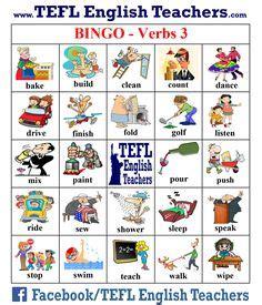 bingo english verbs images english verbs bingo