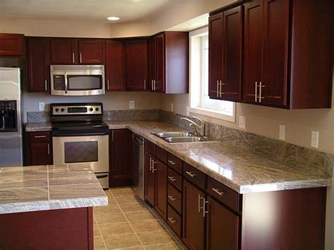 decorating kitchen countertops ideas cherry wood kitchen cabinets with black granite knotty