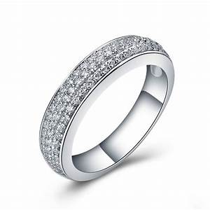 high quality synthetic diamonds wedding band ring jewelry With sterling silver wedding rings for women