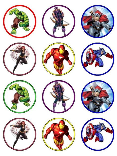 cup marvel template free printable avengers cupcake toppers cakepins