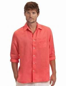 Menu0026#39;s Coral Linen Shirt - Coral Classic Linen Shirt   Island Company