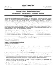resume of experienced project manager manufacturing resume