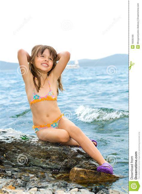 Little Girl Stock Photo Image Of Rock Nature Lake