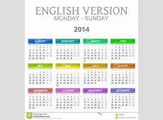 2014 Calendarios Versión De Lunes A Domingo Inglés Stock