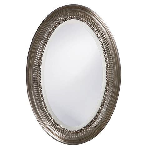 How To Frame An Oval Bathroom Mirror by 31 In X 21 In Brushed Nickel Notched Oval Framed Mirror