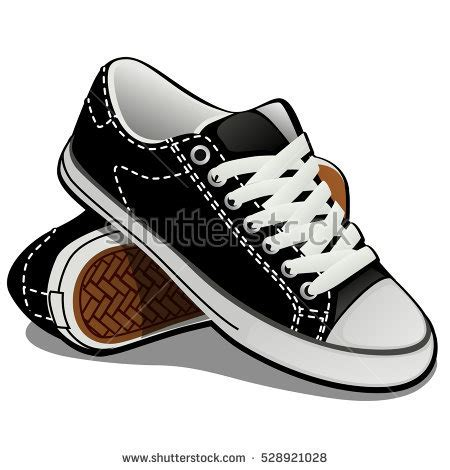 Pair Sneakers White Laces Isolated On Stock Vector