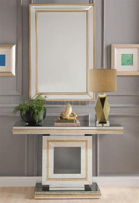 osma console table mirror set   mirror gold  acme