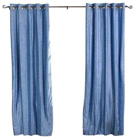 light blue ring grommet top velvet curtain drape panel