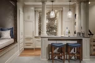 mirrored kitchen backsplash mirror backsplash home bar traditional with mirror subway tile countertop columns