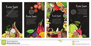 Flyer Collection With Exotic Tropical Fruits. Black ...