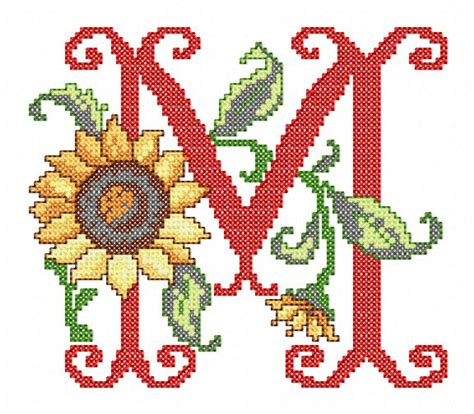 sunflower alphabet cross stitch