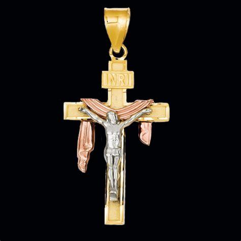 kt tri color shroud crucifix gracious rose