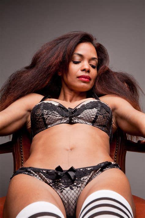 Beautiful Afro American S Flat Stomach Stock Image Image