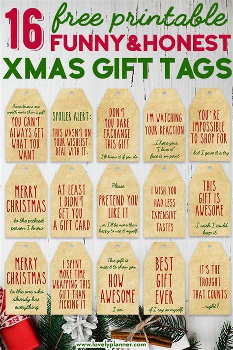 printable funny honest christmas gift tags