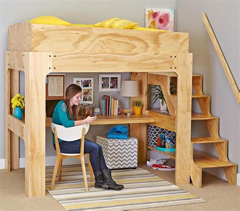 Bedroom Set Plans by Loft Bed And Desk Woodworking Plan From Wood Magazine