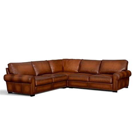 pottery barn turner sofa quality turner leather 3 roll arm l shaped sectional