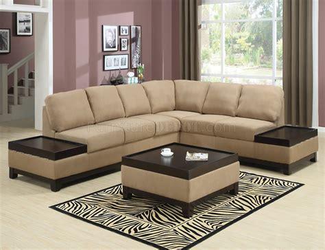 mocha padded suede modern sectional sofa wdark wood trim