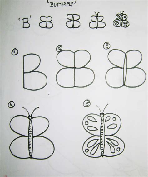 draw butterfly  letter  draw  easy