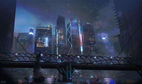 cool  inspiration   cyberpunk city concept art