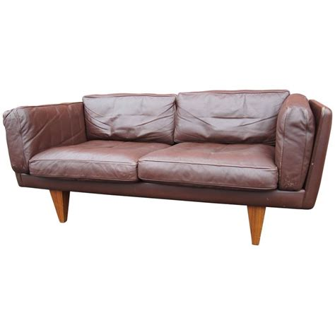 brown leather settee sale brown leather v11 settee by illum wikkels 248 for holger