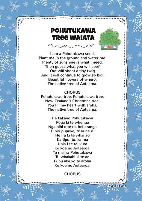 christmas tree songs for kids waiata pohutukawa tree song with free lyrics activities