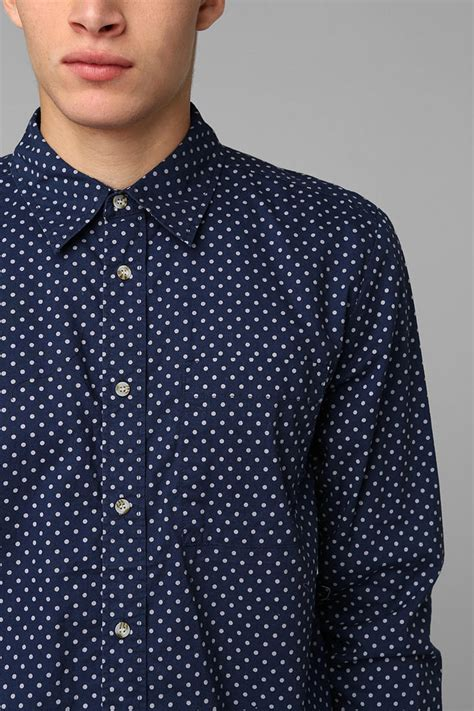 sleeve dotted shirt outfitters neuw polka dot button shirt in blue