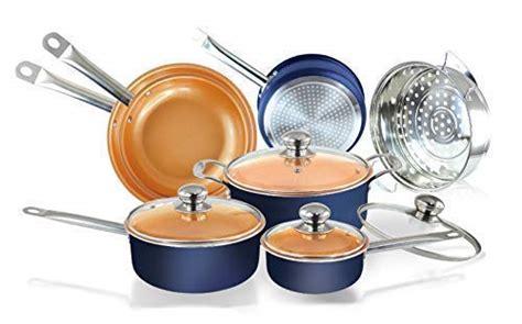pc navy blue copper ceramic coated pots  pans cookware set nonstick ceramic copper pans