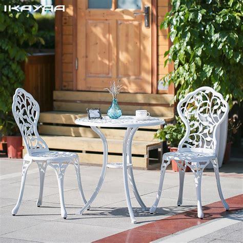 Porch Table Set by Ikayaa 3pcs Modern Outdoor Patio Set Aluminum Porch