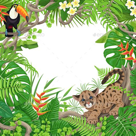 Animal Frame Wallpaper - tropical frame with plants and animals by val iva