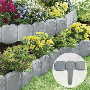 Grey, Stone, Slab, Effect, Garden, Border, Plastic, Edging, Flower, Bed, Grass, Lawn, Liner